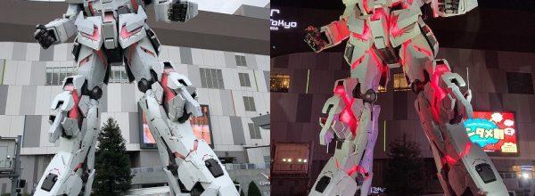 """東京・お台場ユニコーンガンダム立像の昼と夜の冬季限定""""変身""""をレポート"""